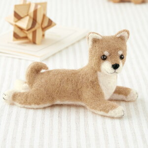 スターターセット(針・マット)付き 伏せポーズの柴犬のマスコット手作りキット 羊毛フェルトで作る犬のぬいぐるみ いぬ 手芸キット 自由研究