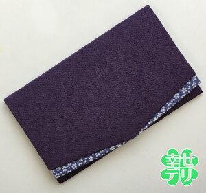 桜小紋の簡易ふくさパープル(ご祝儀袋入れ)スマートな受付マニュアル付【冠婚葬祭 結婚式 葬式用 袱紗 紫色】