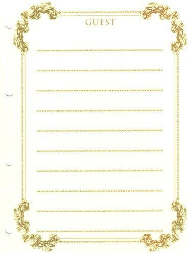 ゲストブック(芳名帳)用紙12枚セット(シュロス)108-120名記帳可※DM便か宅配がお選びいただけます