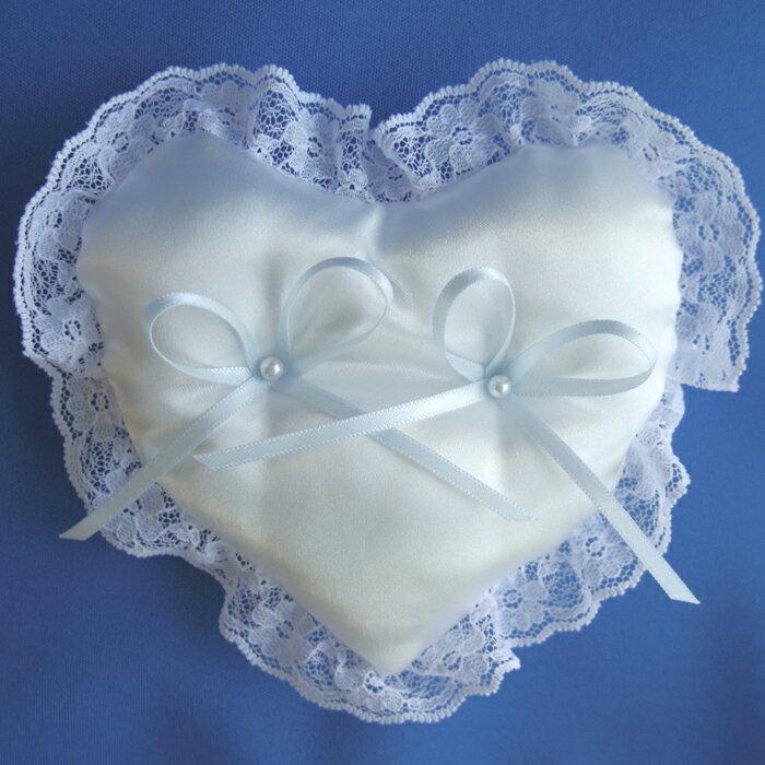 サムシングブルーリボンがアクセントのハートのミニリングピロー完成品【結婚式 リングクッション リングマット】