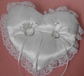 【リングピロー完成品】ハート型リングピロー(ホワイト)約横18.5×縦16cm【結婚式 ウェディング 花嫁diy】