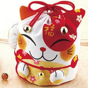福を呼ぶ招き猫の巾着袋入り鰹節ギフト(花削り6袋・のり玉子ふりかけ3袋・わかめスープ3袋)結婚式 引菓子 引出物 内祝い ねこ