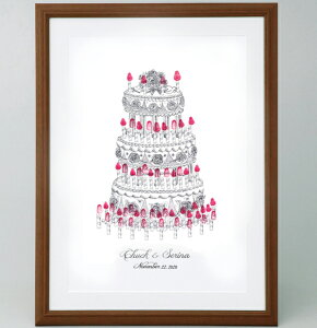 ウェディングケーキのウェルカムボード<マルカSサイズ> 【ゲスト参加型(30-80名用) スタンプ 拇印 指紋】 【結婚式 ウェディング 結婚祝い プレゼント】