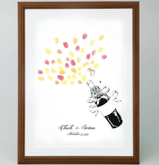 シャンパンボトルのウェルカムボード<Mサイズ>【ゲスト参加型(50-100名用) スタンプ 拇印 指紋】【結婚式 ウェディング 結婚祝い プレゼント 乾杯】