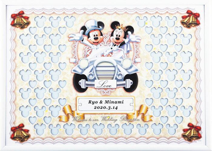 ディズニー メッセージパズルのウェルカムボード『クラシックカータイプ』(ミッキーマウス&ミニーマウス)80ピース【結婚式 寄せ書き 車】