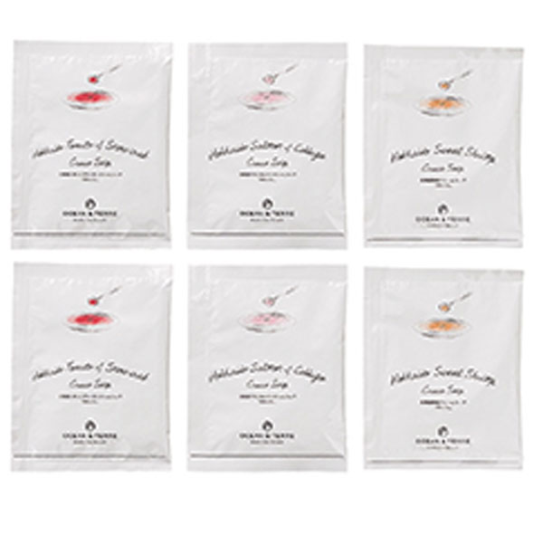 北海道産の海鮮素材のインスタントスープ3種6個入りのギフトAセット(トマトとずわい蟹、鮭とキャベツ、海老 のクリームスープの素各2袋)1箱【結婚式 引出物 引き菓子 内祝い お礼 記念品】【代引き不可】