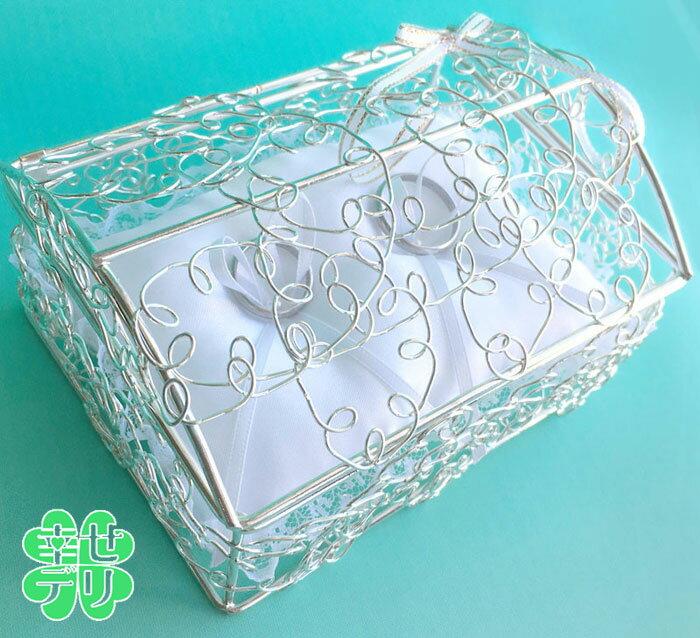 ボックス型リングピロー完成品(結婚式 シルバー ワイヤー)