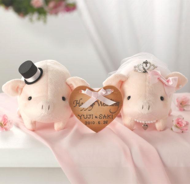ウェルカムとんちゃんピンク完成品ティアラ付き・お名入れあり【結婚式 豚のウェルカムドール ぶたのぬいぐるみ】