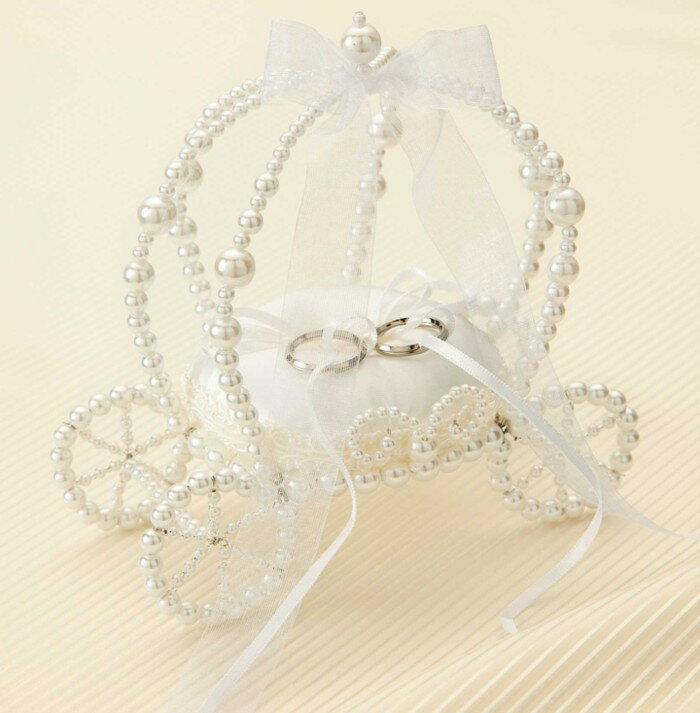 【リングピロー手作りキット】ビーズで作るかぼちゃの馬車のリングピロー(ホワイト)手作りキット【プリンセスウェディング / 結婚式 花嫁DIY】
