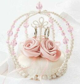 ビーズのクラウンとローズのリングピロー(ピンク)完成品【ウェディング 結婚式 プリンセス ウェディング】【あす楽】