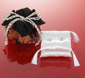 【リングピロー手作りキット】綿20gと糸付き 巾着袋付き和モダンリングピロー(黒)手作りキットセット【結婚式 手芸セット】