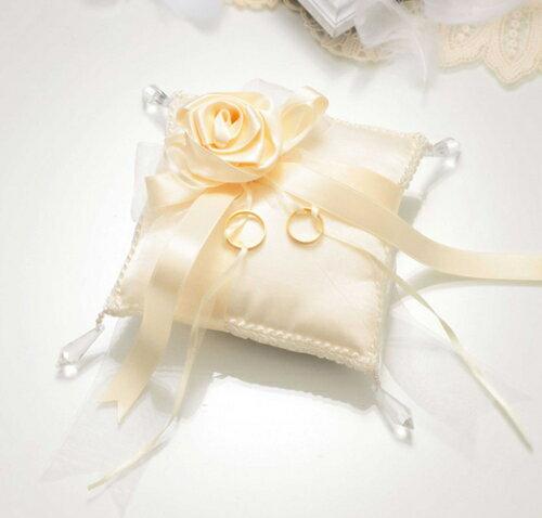 ローズ・スウィートシリーズクリスタルローズのリングピロースクエア完成品(シャンパンゴールド)【結婚式 結婚祝い】