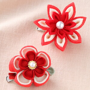 つまみ細工 お花のブローチ 手作りキット(赤)裁縫 手芸 ハンドメイド ちりめん 和小物 和雑貨 七五三 成人式