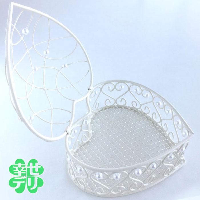 ハート型ワイヤーボックス(バニラホワイト)(アレンジ容器・フラワーベース)
