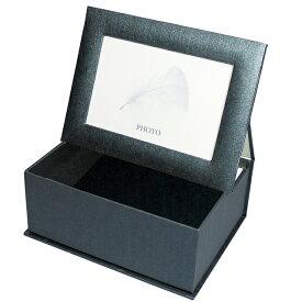 フォトボックス(ブラック)【写真用保管箱 小物入れ 写真立て 誕生日プレゼント フラワーベース 結婚祝い】【あす楽】