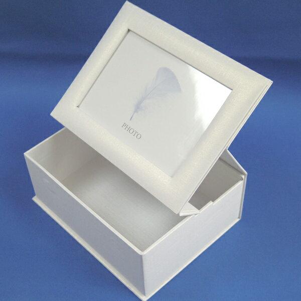 フォトボックス(ホワイト)【写真用保管箱 小物入れ 写真立て 誕生日プレゼント フラワーベース】
