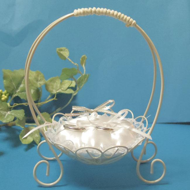 サーバーバスケットのリングピロー【S】(パールなし・指輪を結べるタイプ・完成品)【ウェディング・結婚式・ワイヤー】