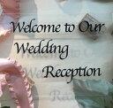 ウェルカムボード用シール(黒の文字・筆記体)(1枚)「Welcome to Our Wedding Reception」【結婚式 花嫁DIY ウェディング レセ...