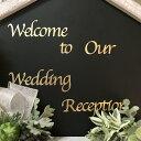 ウェルカムボード用シール(金色の文字・筆記体)(1枚)「Welcome to Our Wedding Reception」【結婚式 花嫁DIY ウェ…
