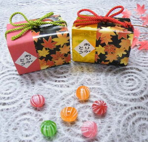 秋色玉手箱のキャンディーの和風プチギフト(手毬飴6個入り)1箱【結婚式 秋婚 二次会 もみじ お礼ギフト】