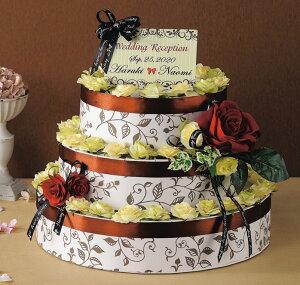 《レディーブラウン》3段のウェディングケーキ型ハートパイと紅茶のプチギフト(60個セット)【結婚式 ウェルカムボード】
