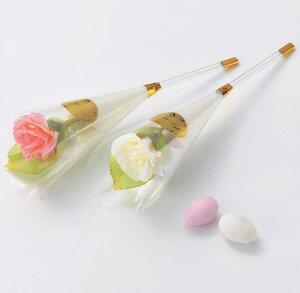 フラワースティック(ドラジェ2粒入り)のプチギフト1本※ホワイト・ピンクは選べません【ローズ スティック 結婚式 ホワイトデー 薔薇 記念品 ミニミニ花束】