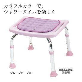 5段階調整 入浴いす シャワーチェア コンパクトミニ 背もたれ無し(クッション付き) 型番:T-6605シャワー椅子 お風呂用椅子 風呂椅子 シャワーイス