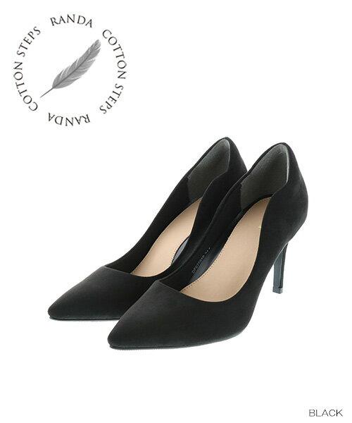 【22cm〜25.5cm】RANDA/COTTON STEPS/デザインカットパンプス/DP7589/P【18AW】