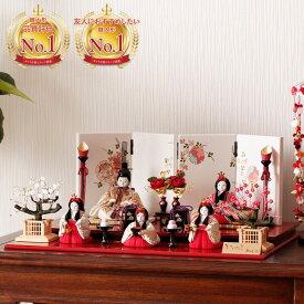 雛人形 かがやきシリーズ 櫻-さくら-五人飾り コンパクト おしゃれ 木目込み H3-12GN-021C