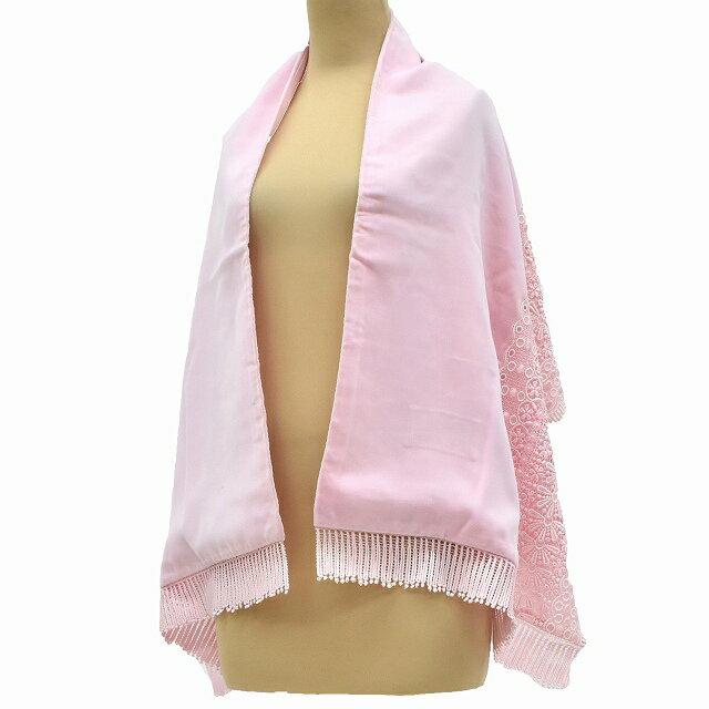 【中古30】着物 和装 ショール ストール リサイクル 中古 ベロア ピンク系 kka7100c
