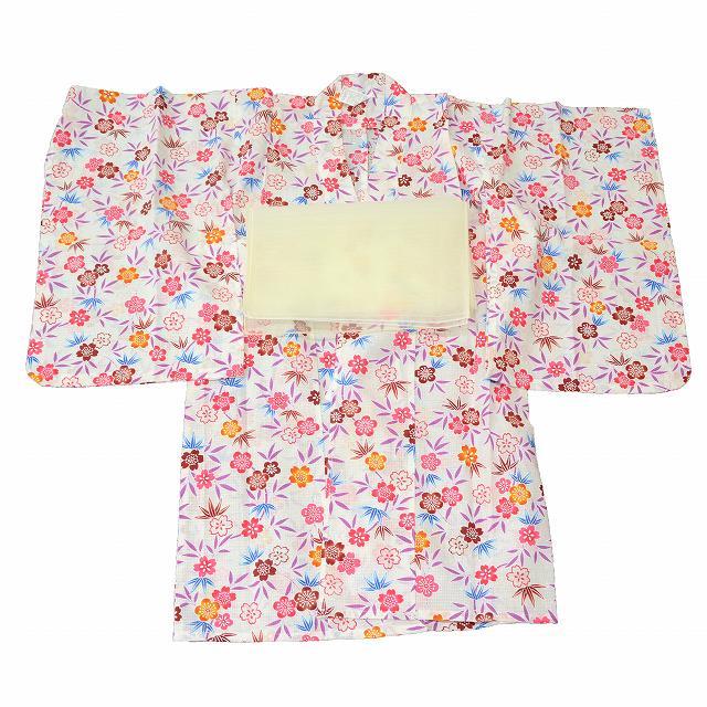 リサイクル着物 浴衣 子供 【中古】 ゆかた キッズ 女の子 木綿 2点セット 兵児帯 白系 花文様 jj3218c