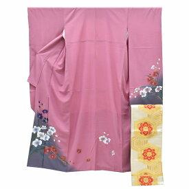 【中古】 リサイクル着物 / 振袖 振袖 袋帯 2点セット 正絹 ちょっとふくよかL 紫系 花文様 身丈168cm Lサイズ 裄67cm Lサイズ ll2411b 【着物ひととき】