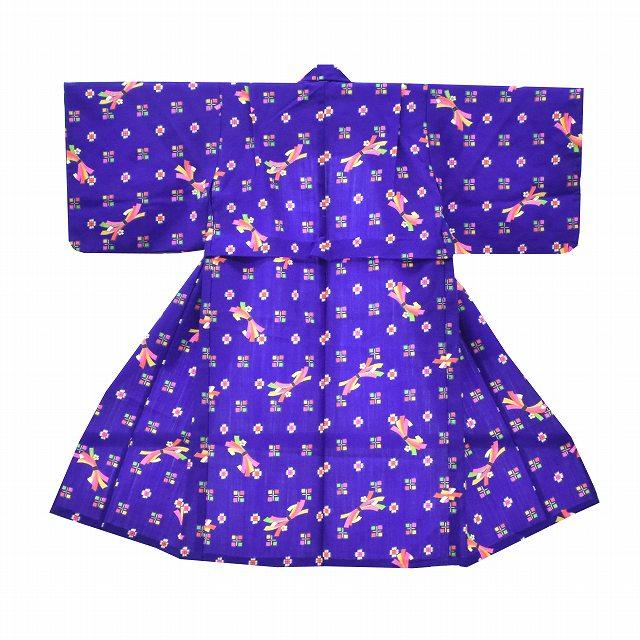 子供 中古 リサイクル 着物 キッズ 女の子 3歳 単品 青系 のし文様 ll3031b 【中古】 【着物ひととき】