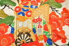 상류 부인의 의복 중고 본견 단품 리사이클 옷(기모노) 상류 부인의 의복 중고 신부 의상 혼례색상류 부인의 의복 리사이클 옷(기모노)행 66.5 cmL 신장 183 cm 빨강, 금빛계 수레 가마 문양 mm1382b