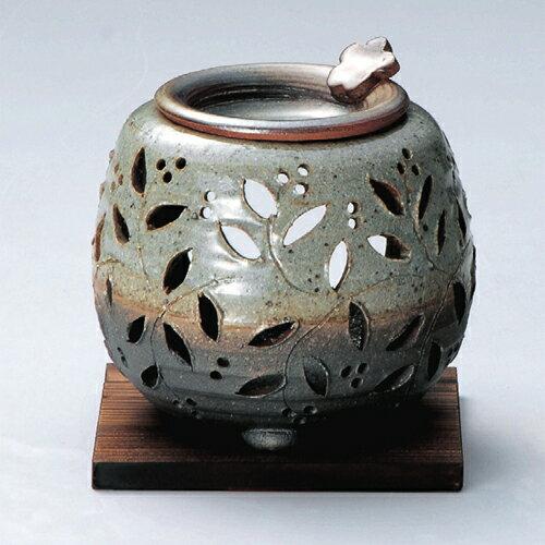 常滑焼 茶香炉 石龍 灰釉花透かし 杉板付【焼き物/陶器/茶器/茶道具/日本茶】
