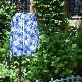 水着 みずぎ  スウィムウェア パーカー 水着用パーカー ラッシュガード フード フーディー青 紺 白 ヤシの木 南国 リゾート 紫外線対策 日焼け対策 UV対策 swimwear プール ナイトプール ママ水着 体型カバー水着 20代 30代 40代 50代 1183153