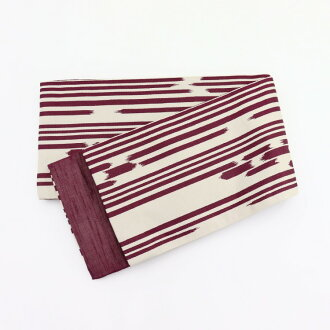 Play the purplish red purple that the wave abusive modishness horizontal stripes do not anger in the stripe cloth with arrow-feather patterns cloth with arrow-feather patterns reversible kimono yukata half width zone Zone half-breadth sash retro Taisho e