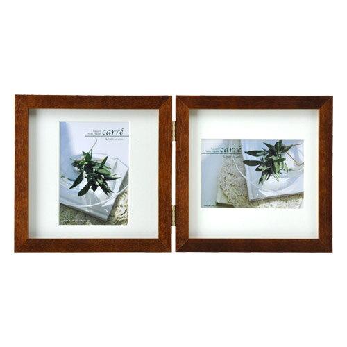 ハクバ HAKUBA フォトフレーム 写真立て タテヨコ兼用 SQ木製額 カレ 写真サイズ:L判 2面 ブラウン FSQCR-BRL2 写真立て