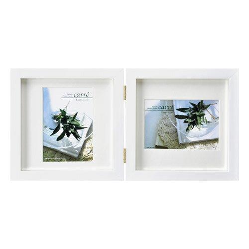 ハクバ HAKUBA フォトフレーム 写真立て タテヨコ兼用 SQ木製額 カレ 写真サイズ:L判 2面 ホワイト FSQCR-WTL2 写真立て