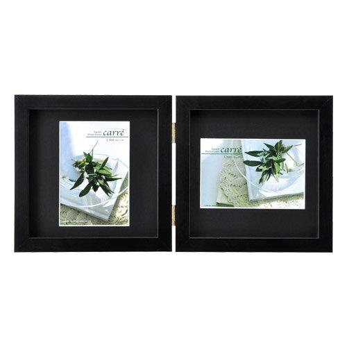 ハクバ HAKUBA フォトフレーム 写真立て タテヨコ兼用 SQ木製額 カレ 写真サイズ:L判 2面 ブラック FSQCR-BKL2 写真立て