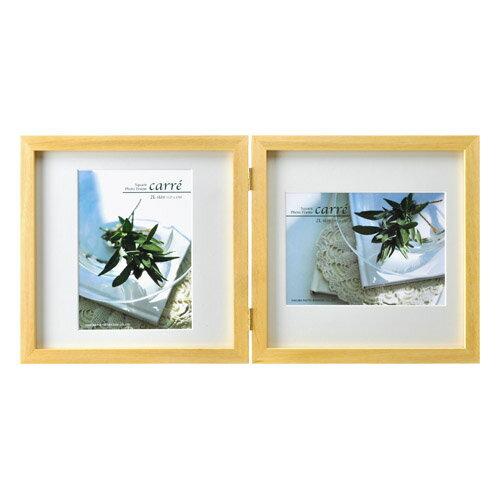 ハクバ HAKUBA フォトフレーム 写真立て タテヨコ兼用 SQ木製額 カレ 写真サイズ:2L 2面 ナチュラル FSQCR-NT2L2 4977187490138