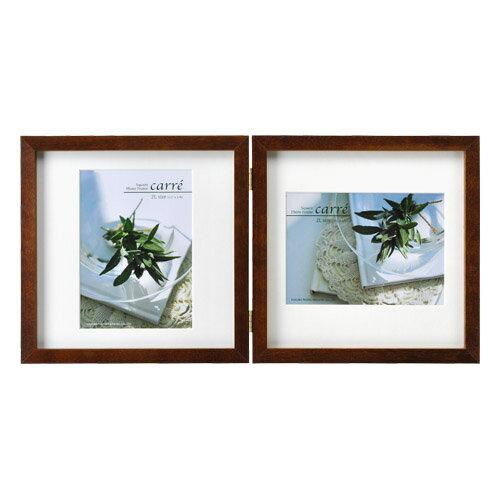 ハクバ HAKUBA フォトフレーム 写真立て タテヨコ兼用 SQ木製額 カレ 写真サイズ:2L 2面 ブラウン FSQCR-BR2L2 4977187490145