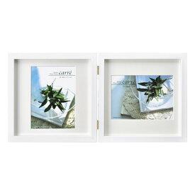 ハクバ HAKUBA フォトフレーム 写真立て タテヨコ兼用 SQ木製額 カレ 写真サイズ:2L 2面 ホワイト FSQCR-WT2L2 4977187490152