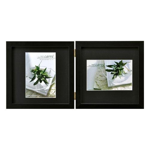 ハクバ HAKUBA フォトフレーム 写真立て タテヨコ兼用 SQ木製額 Carre カレ 写真サイズ:KG ハガキ 2面 ブラック FSQCR-BKKG2 4977187490244