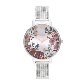 オリビアバートン 日本総代理店 レディース 腕時計 時計 Olivia Burton ブリティッシュ ブルームズ - ローズゴールド & シルバー メッシュ