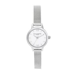 オリビアバートン レディース 腕時計 時計 Olivia Burton ホワイトダイヤル シルバー ブークレメッシュ ミニダイヤル