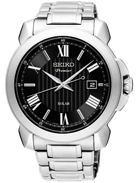 セイコー SEIKO プルミエ Premier ソーラー クオーツ メンズ 腕時計 SNE455P1 ブラック