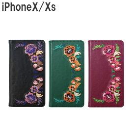 【メール便可能】iPhoneX 花柄刺繍 手帳型ケース Bi8-08 [ iphoneX iphonex 10 iphone 手帳型 ケース カバー 大人かわいい 花柄 刺繍 おしゃれ かわいい レトロ ]