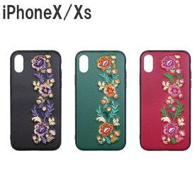 【メール便可能】iPhoneX 花柄刺繍 ケース Ji8-08 [ iphoneX iphonex 10 iphone 手帳型 ケース カバー 大人かわいい 花柄 刺繍 おしゃれ かわいい レトロ ]