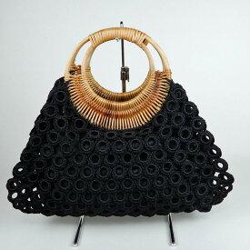 ラタンハンドルの手編みリングバック 全13色 ベトナム雑貨 カゴバック